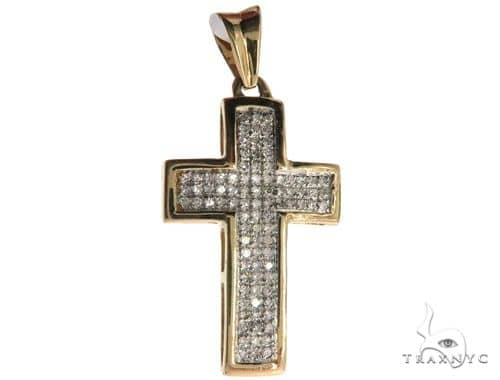 14K Yellow Gold Micro Pave Diamond Cross 62557 Diamond