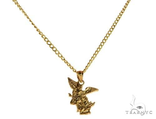 10K Yellow Gold Saint St Michael Charm 20 Inches Cuban Link Chain Set Style