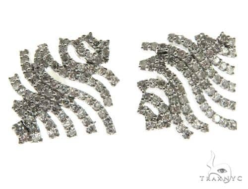 14K White Gold Prong Diamond Wavelines Stud Earring 62580 Stone