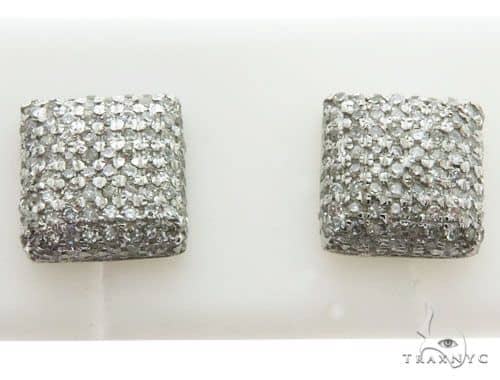 14K White Gold Micro Pave Diamond Pillow Stud Earrings 62581 Stone