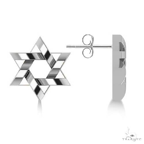 Contemporary Jewish Star of David Earrings in 14k White Gold Metal