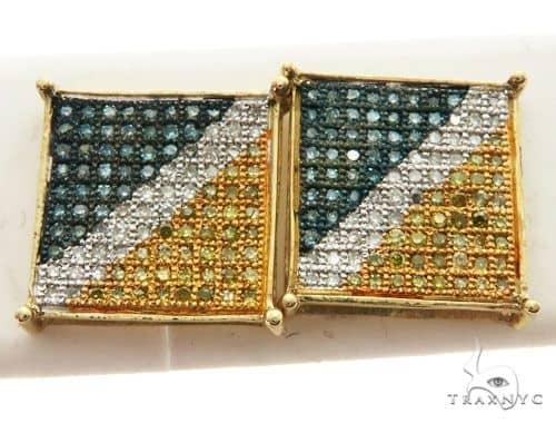14K Yellow Gold Micro Pave Square Stud Earrings 62603 Stone