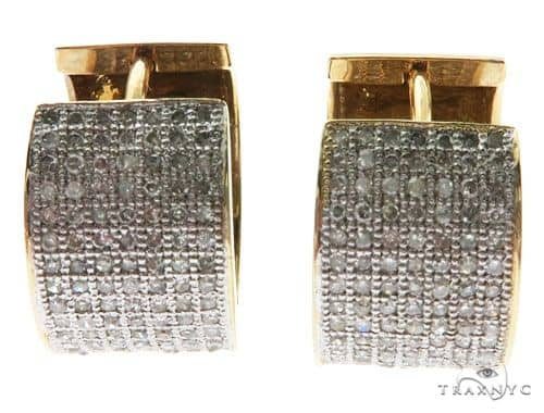 14K Yellow Gold Micro Pave Round Stud Earrings 62610 Stone