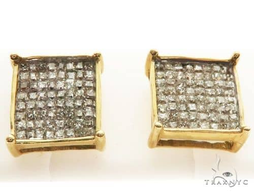 14K Yellow Gold Micro Pave Diamond Stud Earrings 62613 Stone