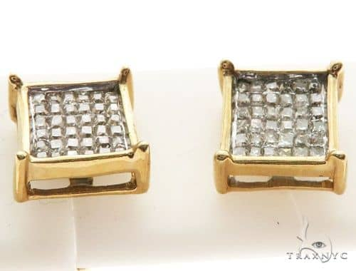14K Yellow Gold Micro Pave Diamond Stud Earrings 62614 Stone