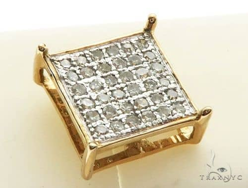 14K Yellow Gold Micro Pave Diamond Stud Earrings 62615 Stone
