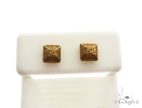 10K Yellow Gold Micro Pave Diamond Stud Earrings 62623 Stone