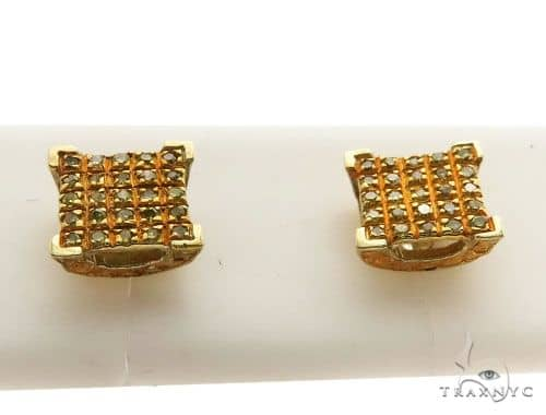 10K Yellow Gold Micro Pave Diamond Stud Earrings 62624 Stone