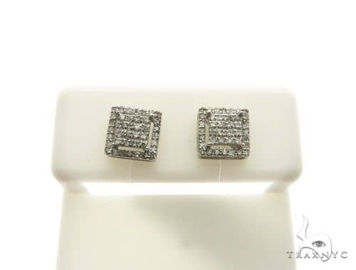 10K White Gold Micro Pave Diamond Stud Earrings 62627 Stone