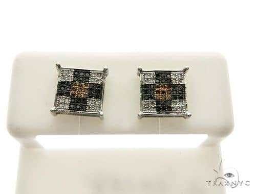 10K White Gold Micro Pave Diamond Stud Earrings 62629 Stone