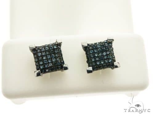 10K White Gold Micro Pave Diamond Stud Earrings 62630 Stone