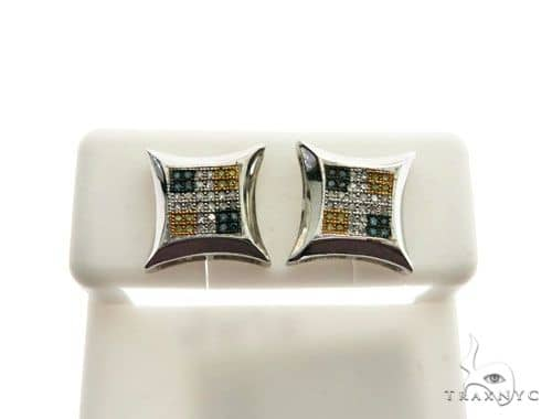 14K White Gold Micro Pave Diamond Stud Earrings 62633 Stone