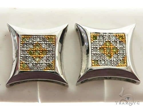 14K White Gold Micro Pave Diamond Stud Earrings 63001 Stone