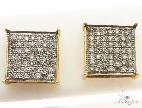 14K Yellow Gold Micro Pave Diamond Square Stud Earrings Stone