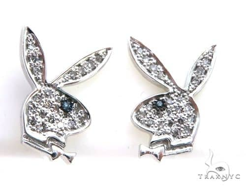 14K White Gold Micro Pave Diamond Rabbit Stud Earrings 63005 Stone