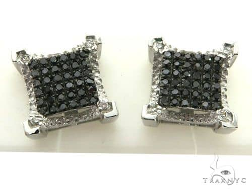 10K White Gold Micro Pave Diamond Stud Earrings 63006 Stone