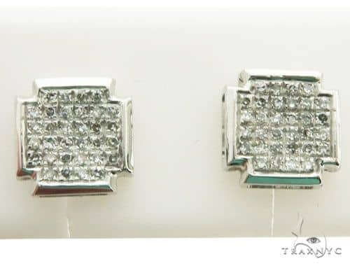 10K White Gold Micro Pave Diamond Stud Earrings Stone