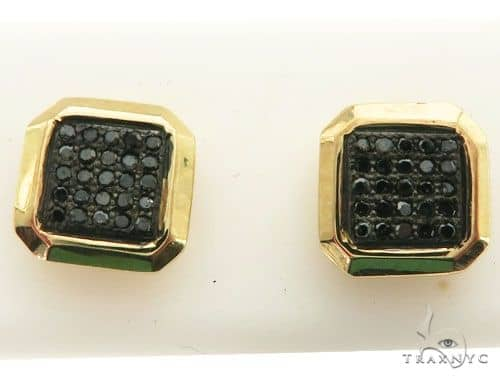 10K Yellow Gold Micro Pave Diamond Stud Earrings 63013 Stone