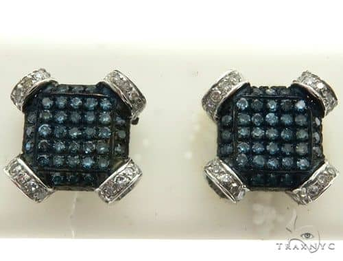 10K White Gold Micro Pave Diamond Stud Earrings 63014 Stone