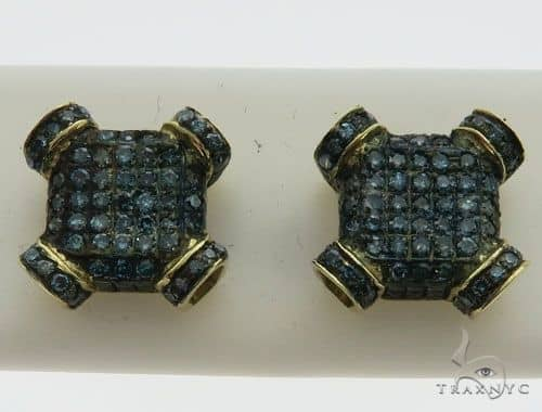 10K Yellow Gold Micro Pave Diamond Stud Earrings 63015 Stone
