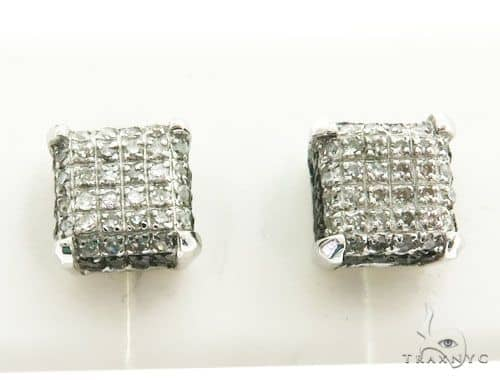 14K White Gold Micro Pave Diamond Stud Earrings 63020 Stone