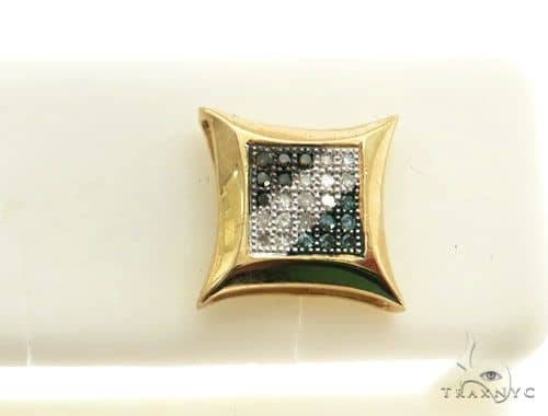 14K Yellow Gold Micro Pave Diamond Stud Earring Stone