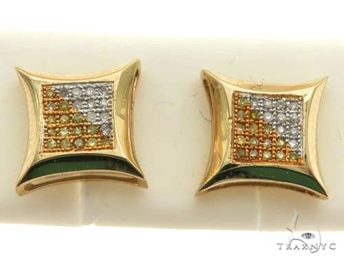 14K Yellow Gold Micro Pave Diamond Stud Earring 63022 Stone