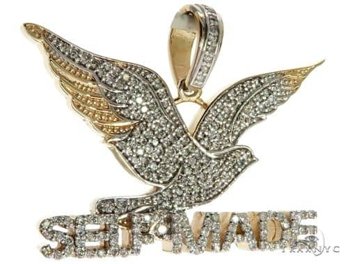 14K Yellow Gold Prong Diamond FreeBird Self Made Charm Pendant 63091 Stone