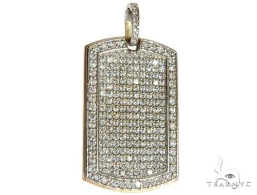 Engrave Your Text Diamond 14K Gold Dog Tag Charm Pendant Stone