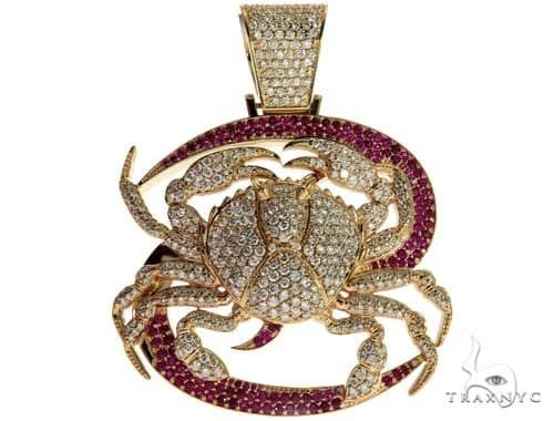 14K Yellow Gold Prong Diamond Crab Pendant 63094 Metal