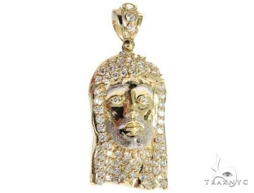 CZ 10k Two Tone Gold Jesus Piece Charm Pendant M Style