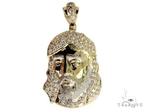CZ 10K Two Tone Gold Jesus Piece Charm M Style