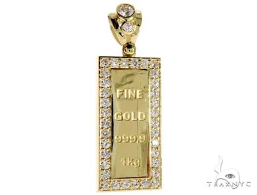 CZ 10K Yellow Gold Hollow Mini Gold Bar Charm Pendant Metal