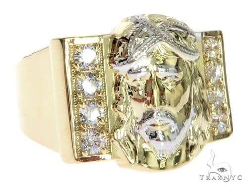 CZ 10K Two Tone Gold Jesus Face Ring Metal