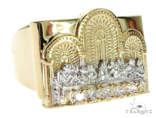 CZ 10K Two Tone Gold Last Supper Ring Metal