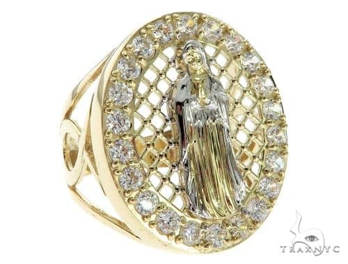 CZ 10K Two Tone Gold Virgin Mary Ring 63107 Metal