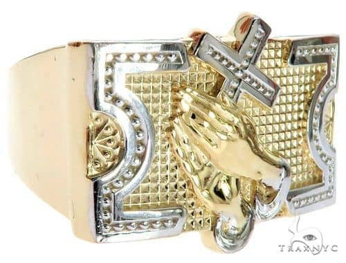 10K Two Tone Gold Praying Hands with Cross Ring 63108 Metal