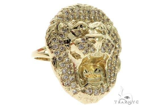 CZ 10K Yellow Gold Lion Head Ring 63110 Metal
