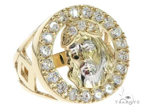 CZ 10K Two Tone Gold Jesus Face Ring 63113 Metal