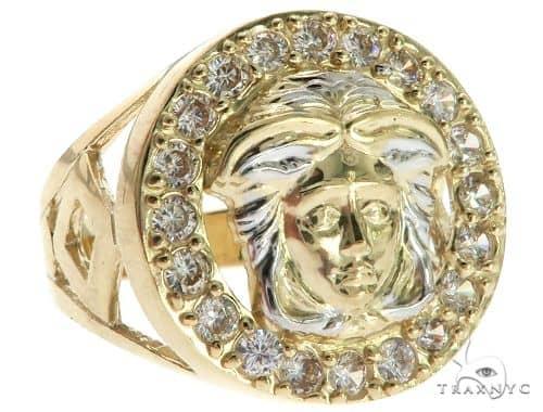 CZ 10K Two Tone Gold Medusa Ring 63114 Metal