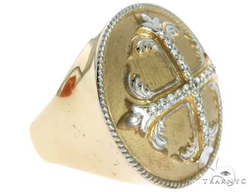14K Yellow Gold Prong Diamond Custom Made TraxNYCs Templar Ring 63117 Stone