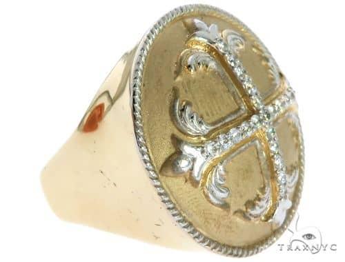 14K Yellow Gold Prong Diamond Custom Made TraxNYCs Templar Ring Knights Crusader Masonic Stone
