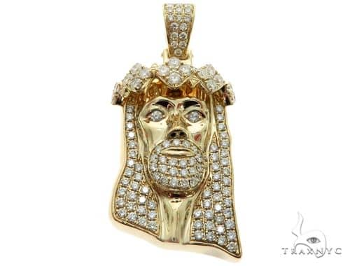 14K Yellow Gold Prong Diamond Jesus Pendant 63123 Metal