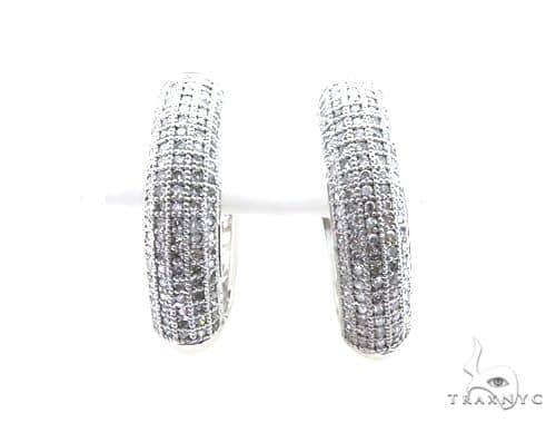 14K White Gold Micro Pave Diamond Stud Earrings 63133 Stone