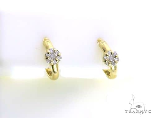 14K Yellow Gold Micro Pave Diamond Stud Earrings 63136 Stone