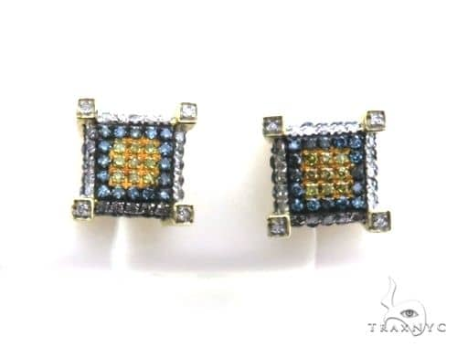 14K Yellow Gold Micro Pave Diamond Stud Earrings 63139 Stone