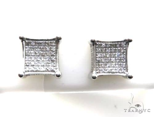 10K White Gold Micro Pave Diamond Stud Square Earrings 63140 Stone