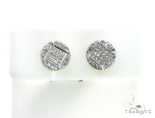 10K White Gold Micro Pave Diamond Stud Earrings. 63153 Stone