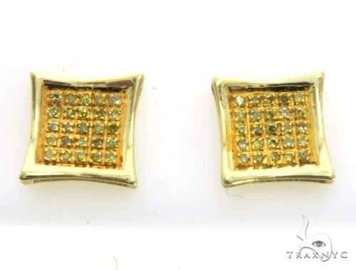 10K Yellow Gold Micro Pave Diamond Stud Earrings. 63159 Stone