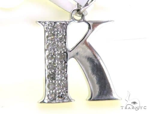 10K White Gold Micro Pave Diamond Stud Alphabet K Pendant 63163 Metal